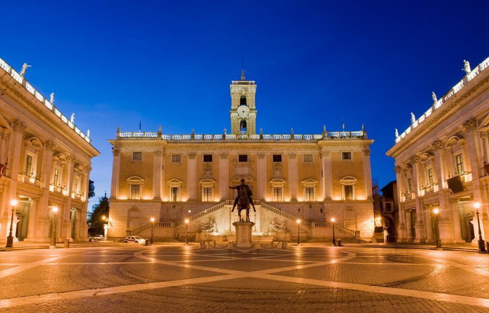 Три главных дворца Капитолийских музеев.