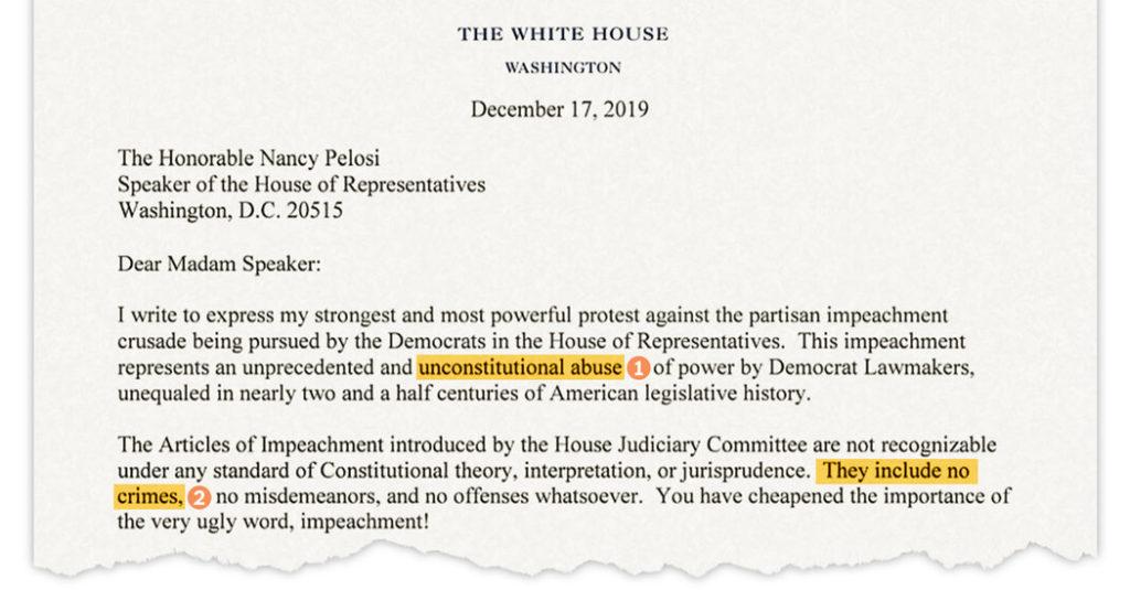 Накануне своего импичмента Трамп отправил длинное письмо спикеру Пелоси и демократам, критиковавших его