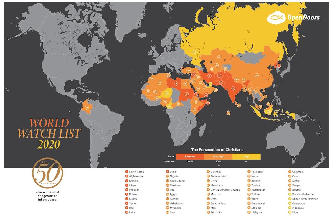 Топ-50 стран, где опаснее всего быть христианином