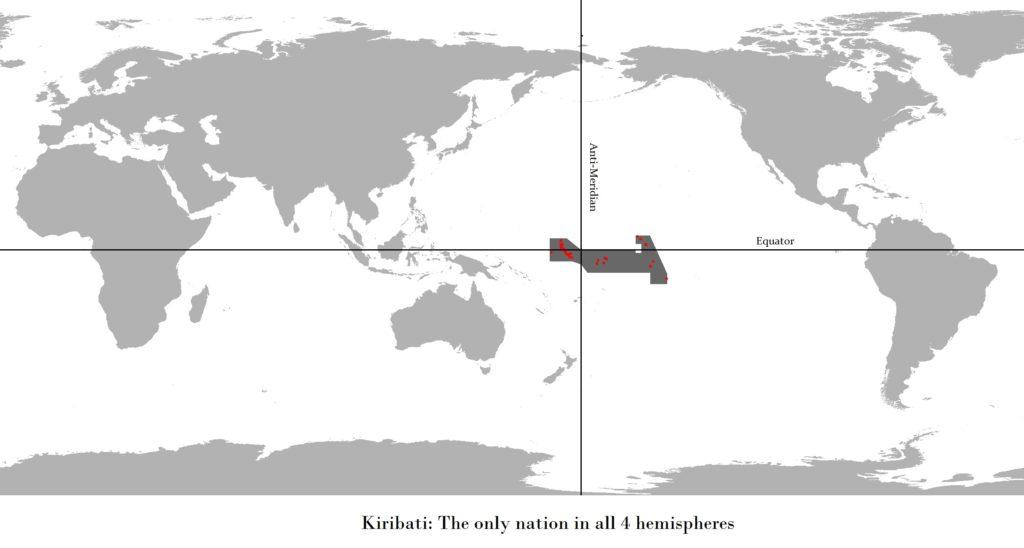 Республика Кирибати есть на всех четырех полушариях