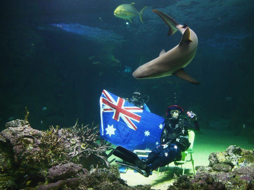 Флаг Австралии на дне Сиднейского аквариума