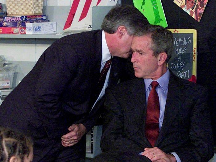 Президент Джордж Буш узнает о террористических атаках 11 сентября