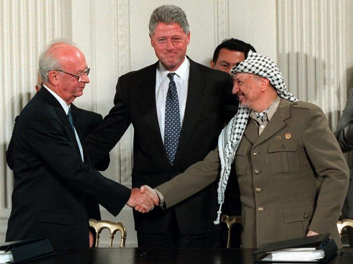 Билл Клинтон после подписания соглашения между Израилем и Палестиной (1995 год)