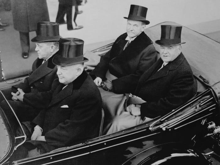 Калвин Кулидж и Герберт Гувер едут на инаугурацию Гувера (1929 год)