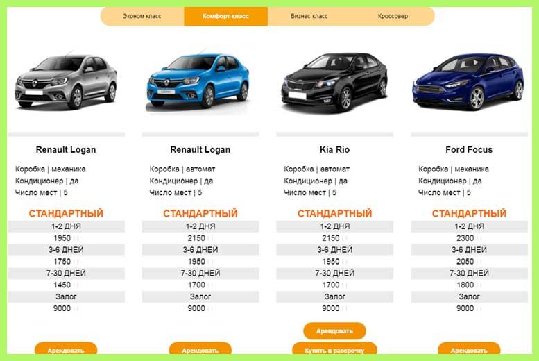 Прокат автомобилей от эконом до бизнес-класса